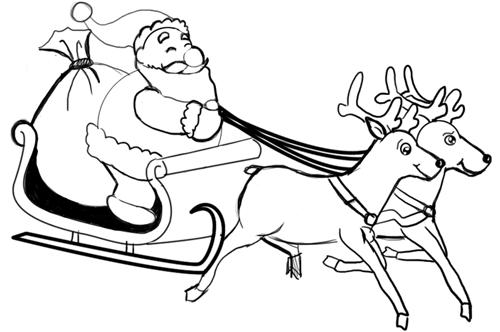 рисунки сани с оленями маховике находится