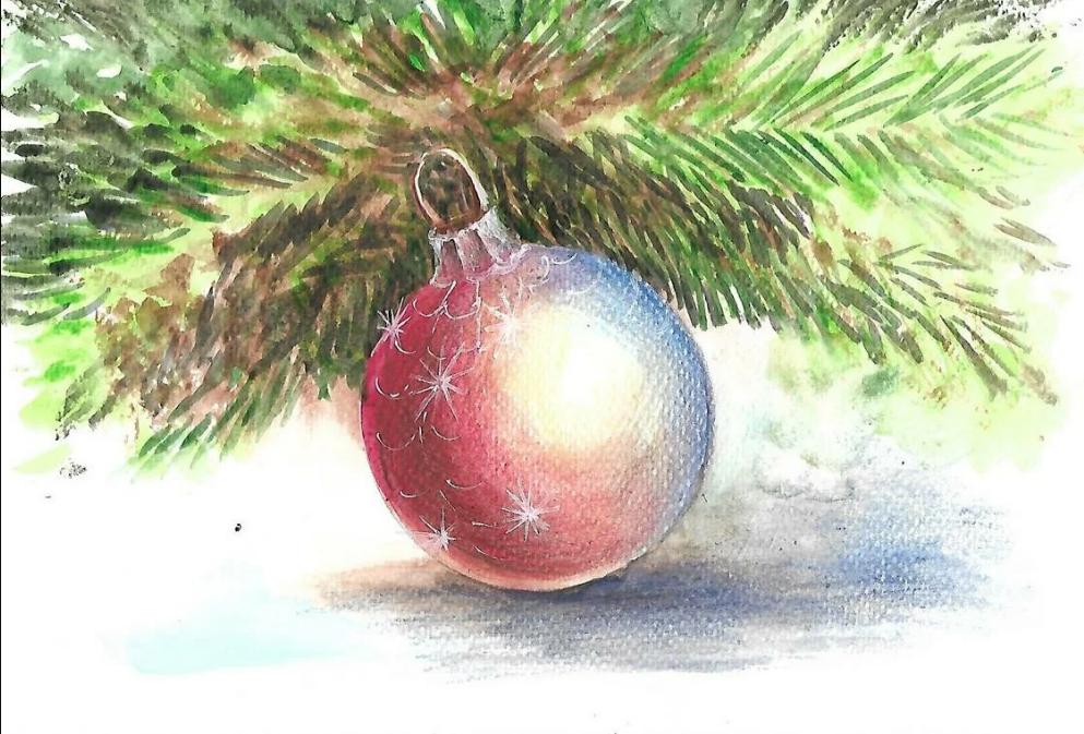 Как нарисовать новогоднюю открытку цветными карандашами